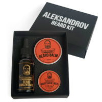 Aleksandrov Beard Kit №06 (Oil BC Glühwein, Balm Sunset, Wax Mild Sunset) - Набор для стимуляции роста бороды
